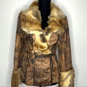 Cache Brown Faux Fur and Suede Jacket Size S